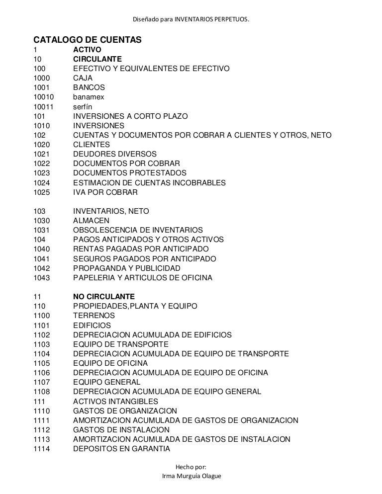 Catalogo de cuentas para inventarios perpetuos