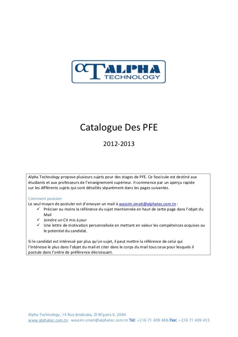 Cv Pour Stage Pfe