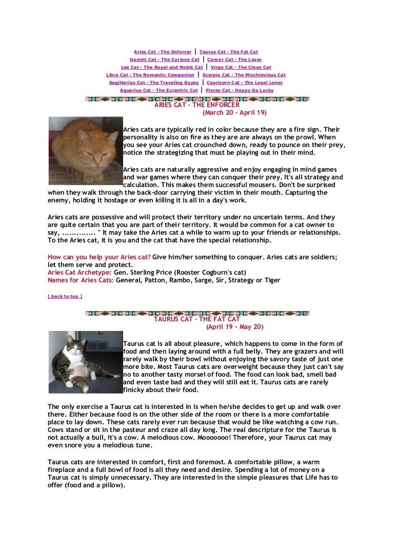 Cat astrological sun signs ~~