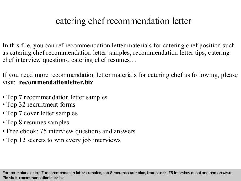 Catering Chef Recommendation Letter