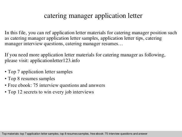 Catering Manager Cover Letter. No Experience Catering Assistant ...