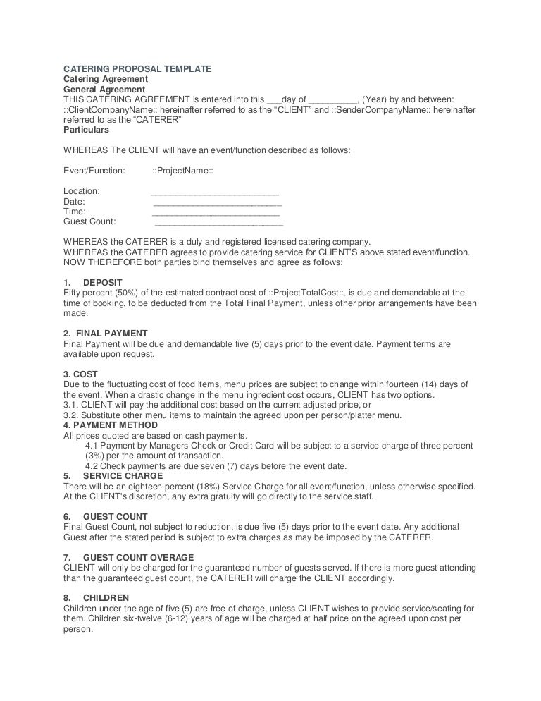 Catering Proposal Template Midterms