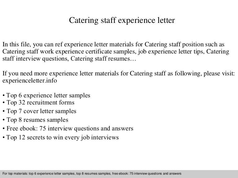 Catering Staff Experience Letter