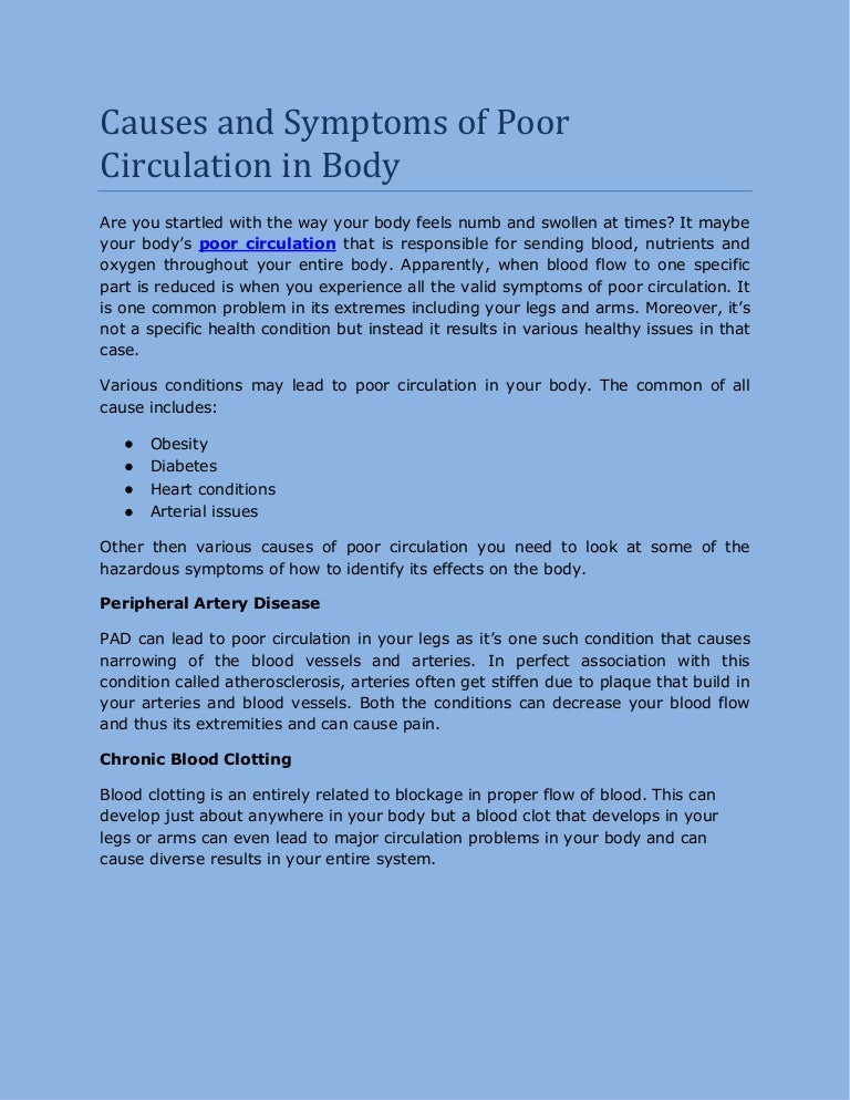 Causes and symptoms of poor circulation in body