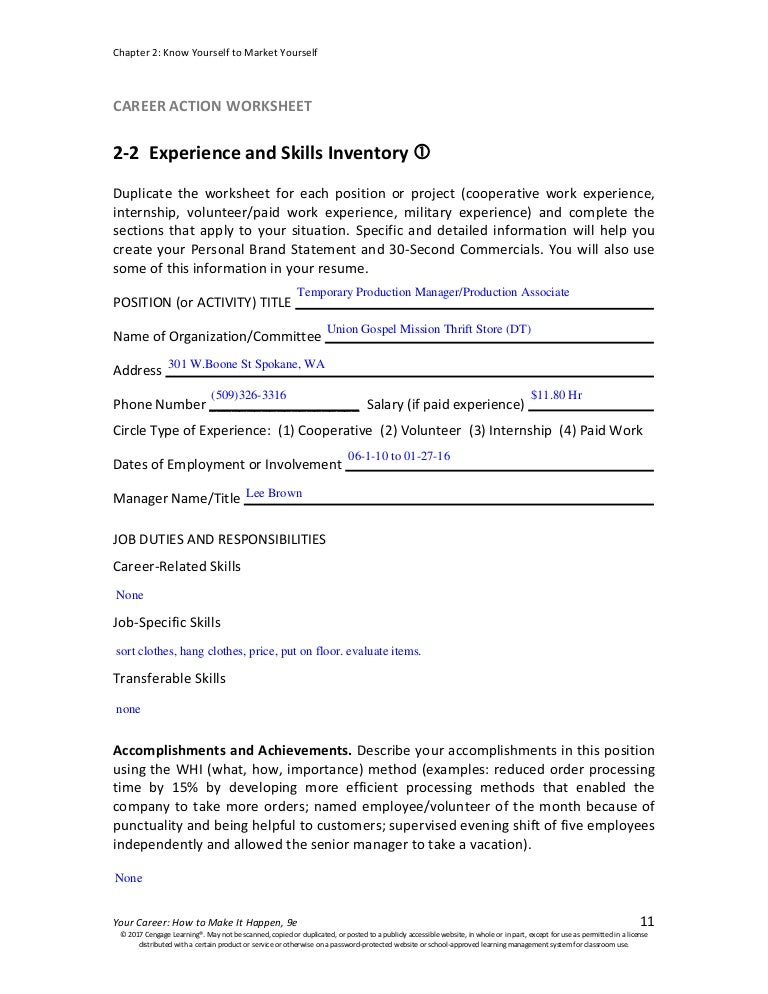 Caw 2 2 experience and skills inventory – Skills Inventory Worksheet