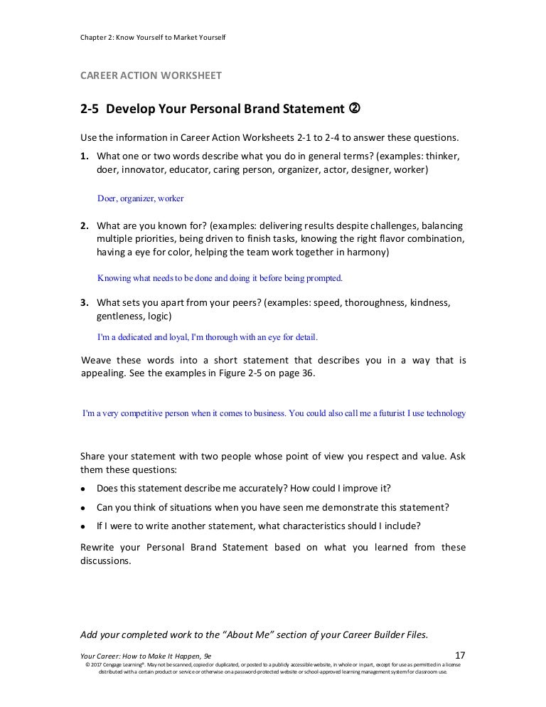 Caw 2 5 Develop Your Personal Brand Statement