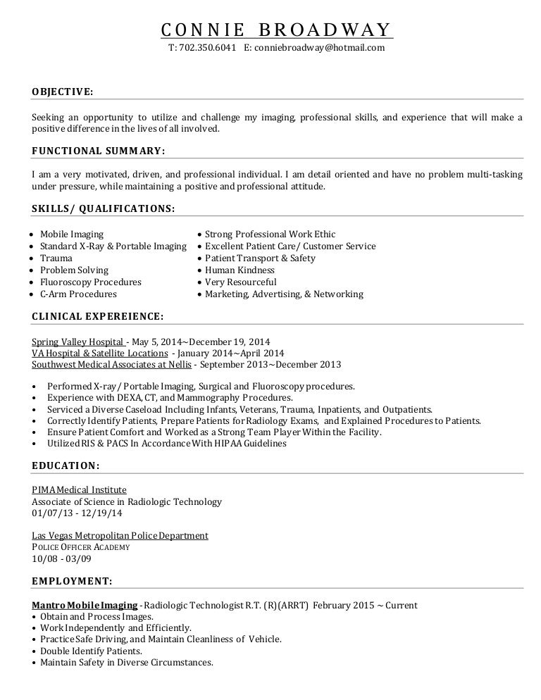 sample resume x ray technologist