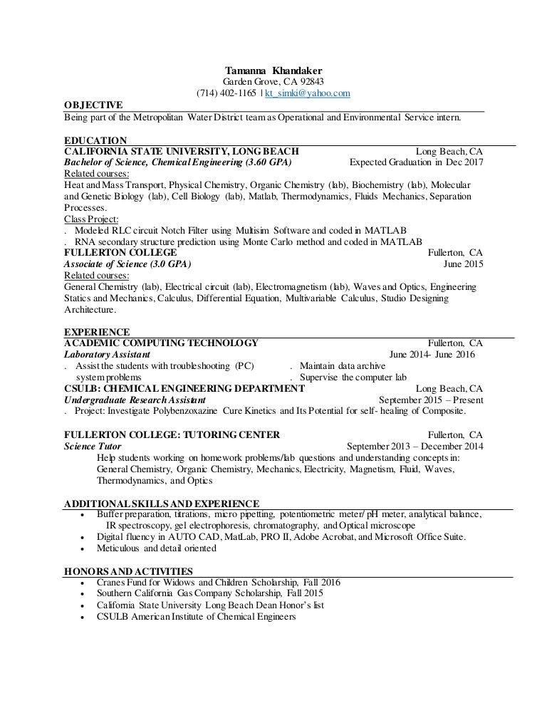 Tamanna Khandaker Resume