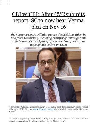 CBI vs CBI: After CVC submits report, SC to now hear Verma plea on Nov 16