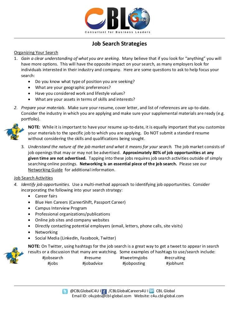 cblglobal job search strategies