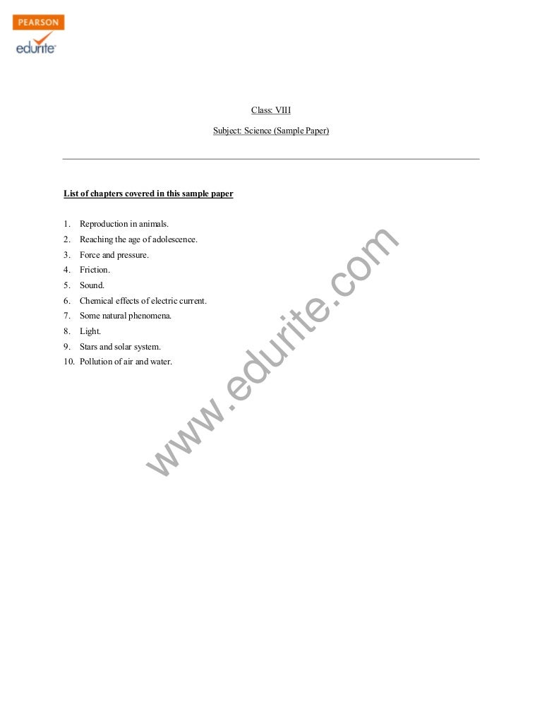 Class 8 Cbse Science Sample Paper Term 2 Model 1
