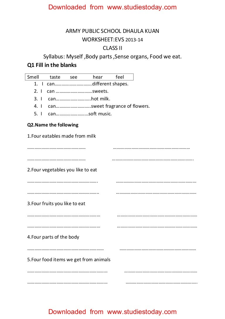 worksheet Body Parts Worksheets For Grade 1 cbse class 2 evs practice worksheets 30 myself body parts