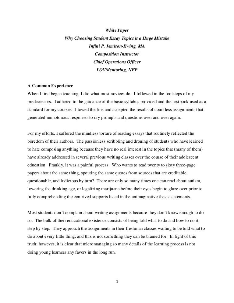 white paper why choosing student essay topics is a huge mistake