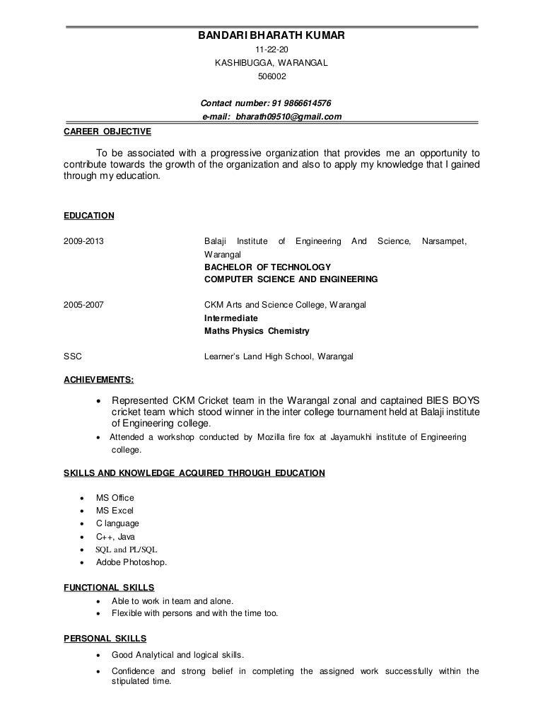 resume as fresher