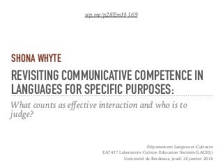 Revisiting communicative competence in languages for specific purposes