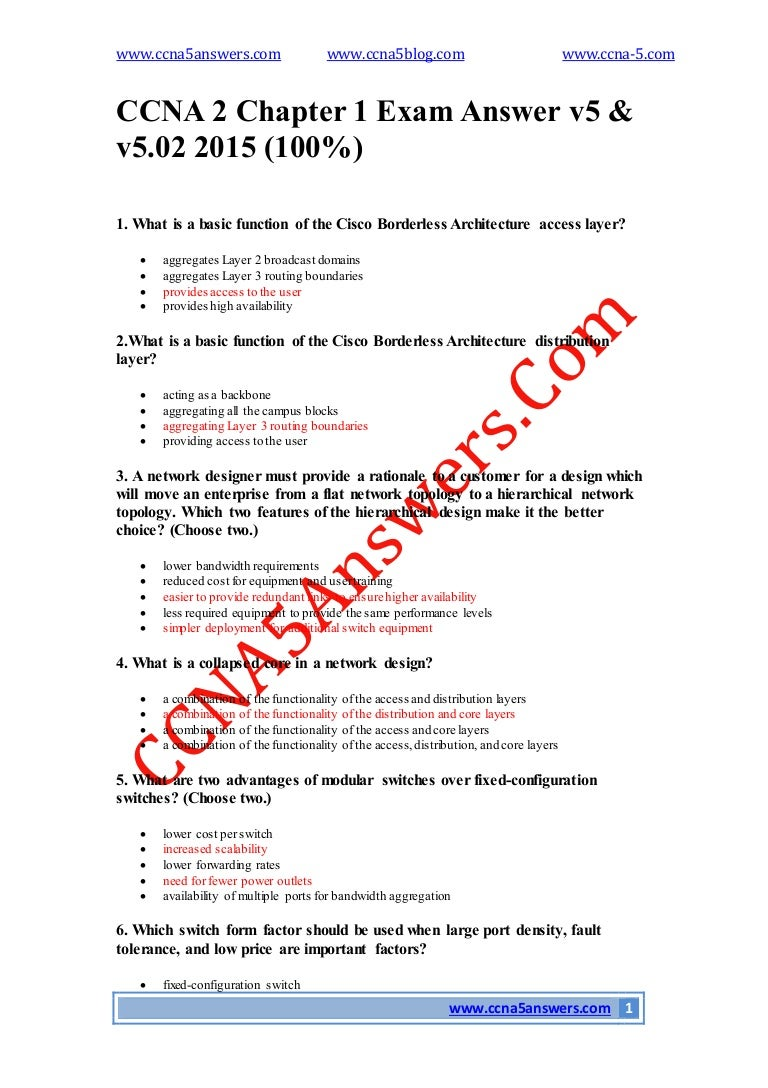 Ccna 2 Chapter 1 Exam Answer V5 Cisco Catalyst Layer 3 Fixed Configuration Switches