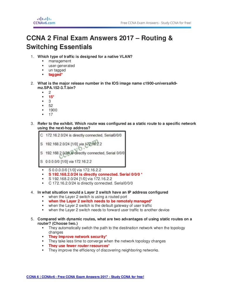 final exam answers Ccna1 final exam answer 2016 v51 what is a characteristic of a fault tolerant network a network that protects confidential information from unauthorized access a network that can expand quickly to support new users and applications without impacting the performance of the service delivered to existing users a network that supports a mechanism for managingread more.