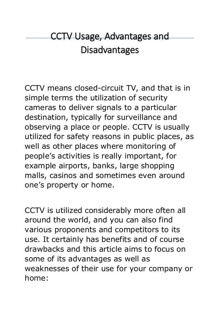 cctv usage advantages and disadvantages