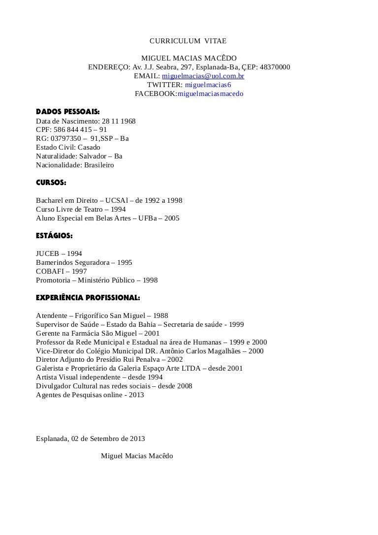 curriculum vitae cpf rg email uol