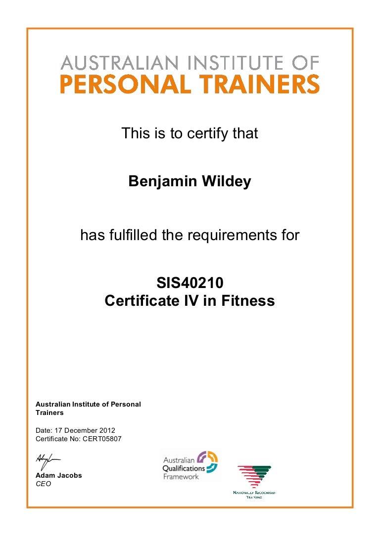 certificate fitness