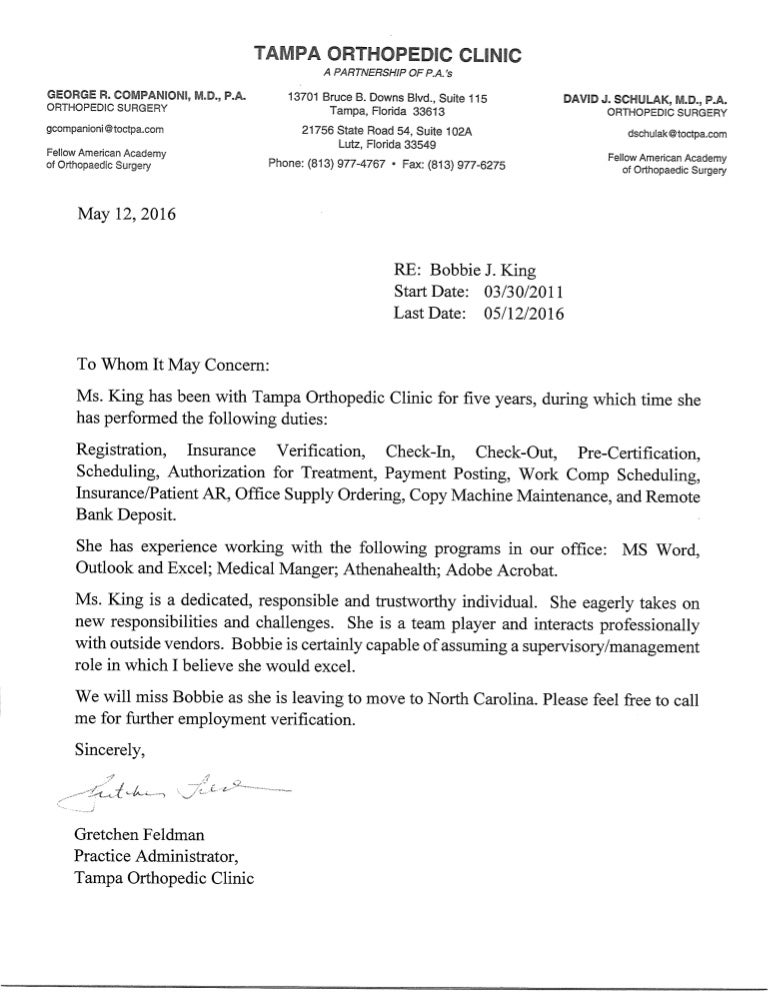 letter of recommendation from tampa orthopedic