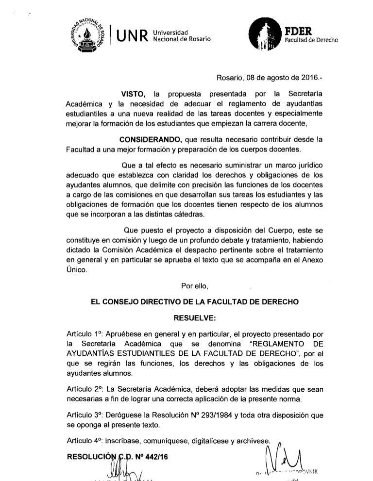 Cd nº442 16 reglamento ayudantia