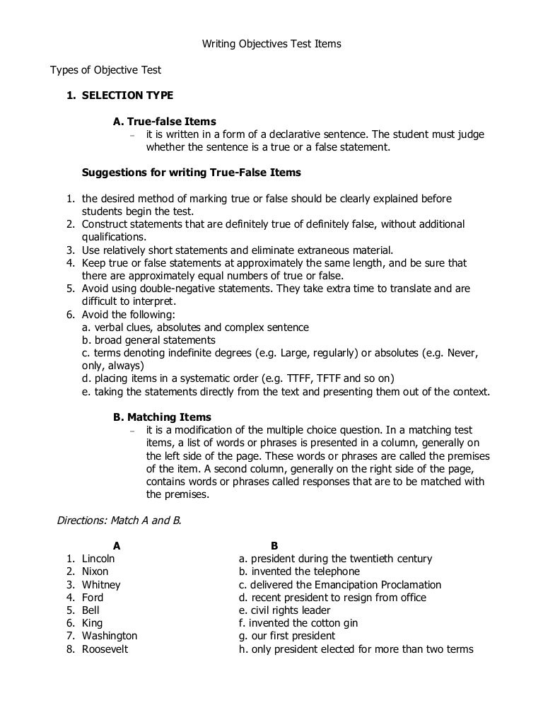 Writing Objective Test Items