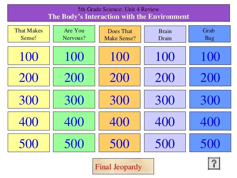 5th Grade Tjs Unit 3 Science Jeopardy Topics 6 9