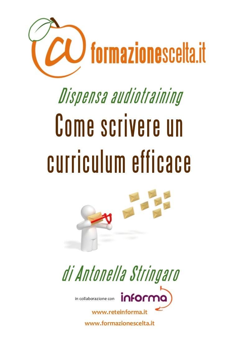 E Scrivere Un Curriculum Efficace Estratto Dispensa Audiotraining