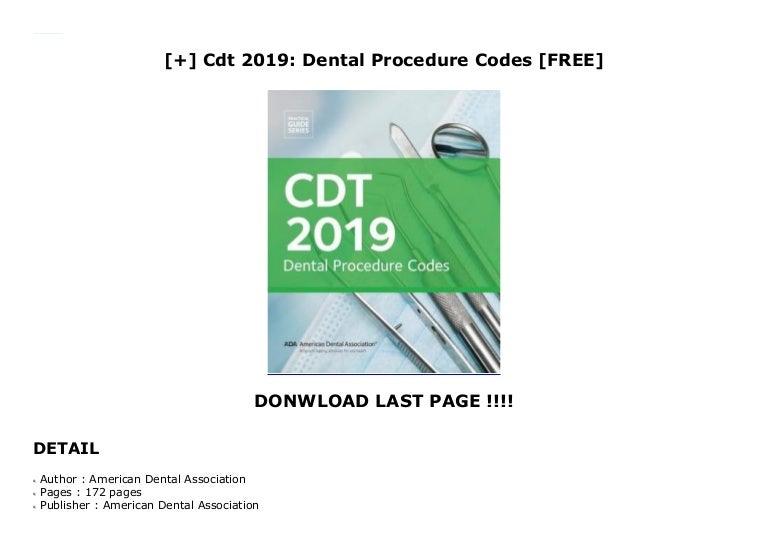 Cdt 2019: Dental Procedure Codes [FREE]