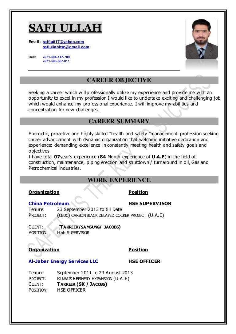 safi ullah hse resume