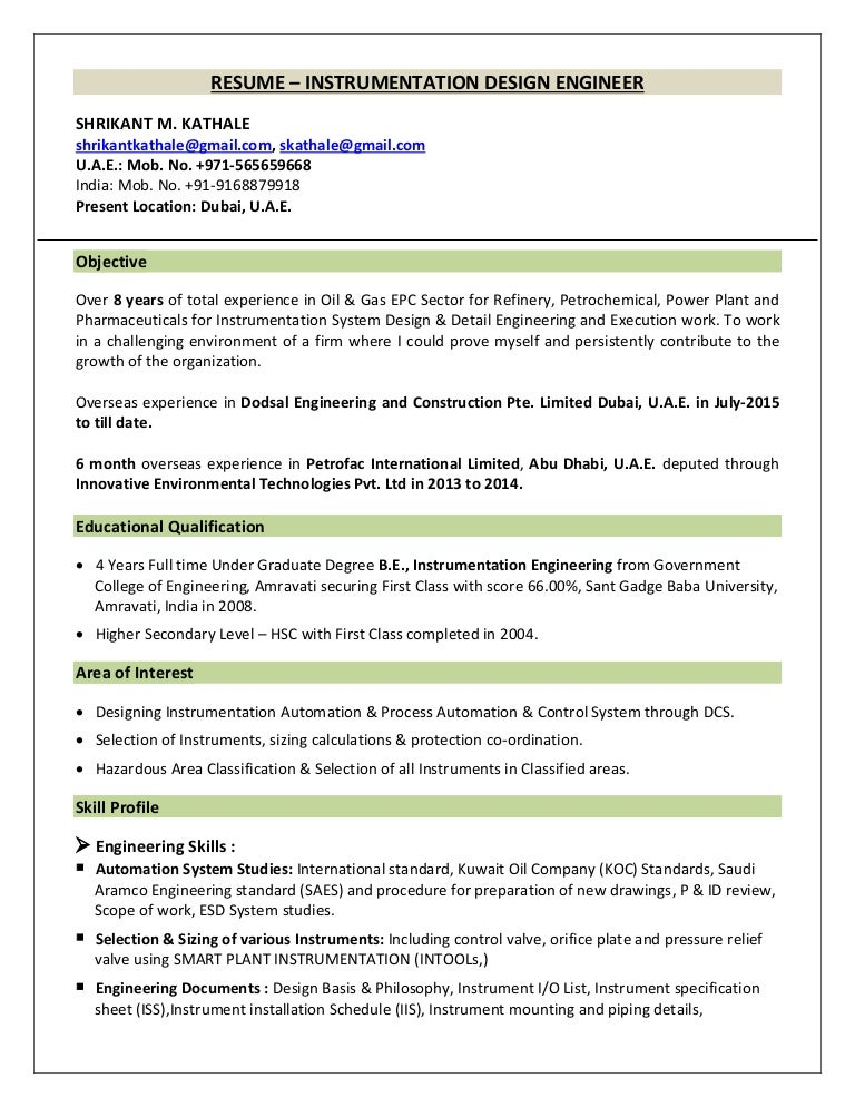 instrumentation design engineer resume