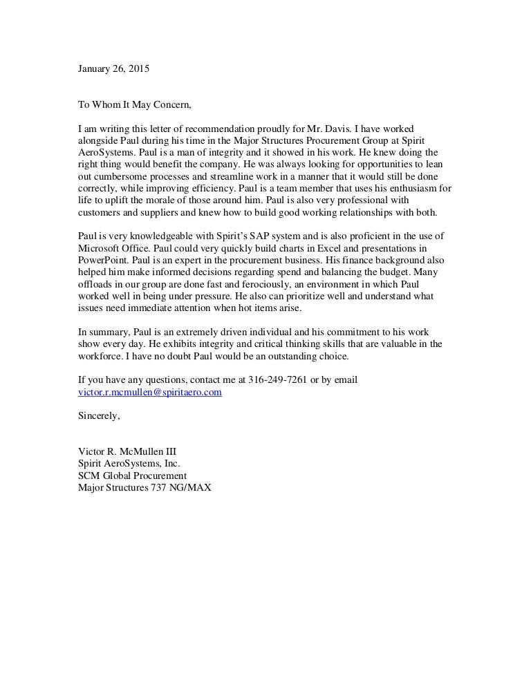 paul davis recommendation letter from victor mcmullen