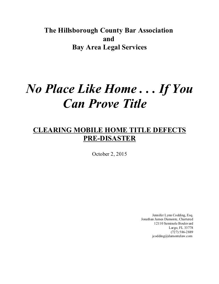 Clearing Mobile Home Title Defects Pre Disaster 10215