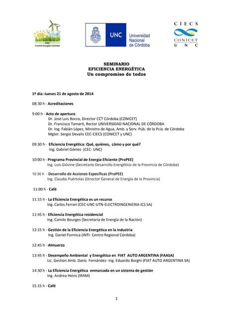 Seminario sobre Eficiencia Energética