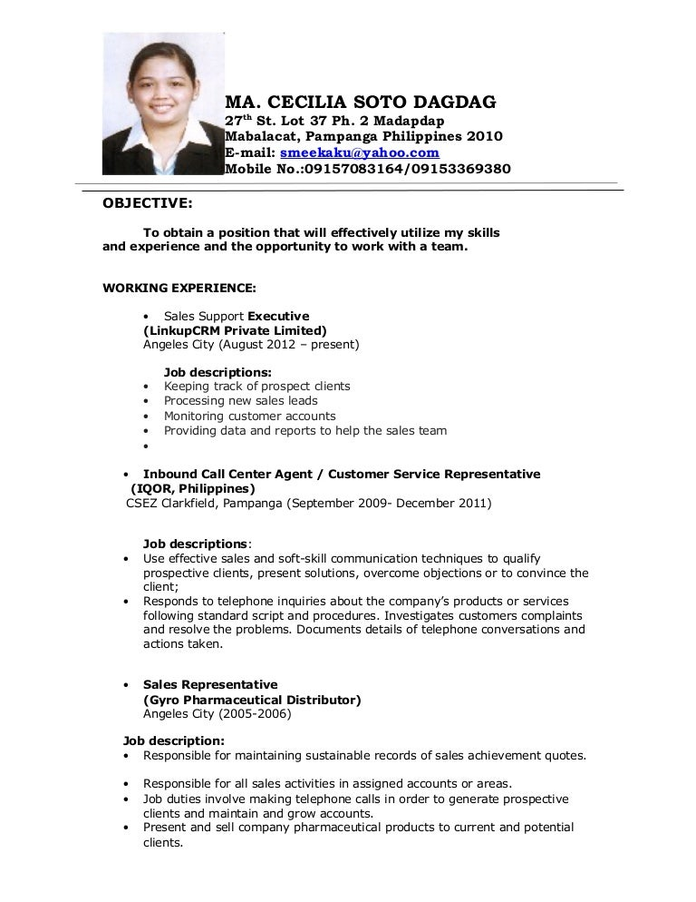 sample resume for a call center agent