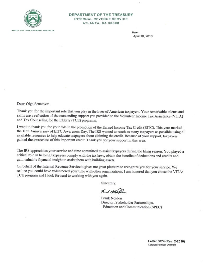 Irs Thank You Letter