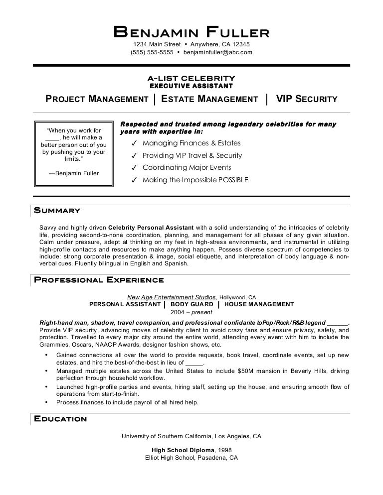 celebrity personal assistant resume by mia c coleman - Personal Assistant Resume
