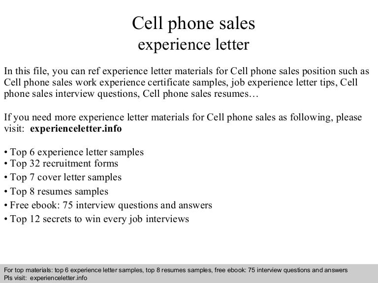 cell phone sales resume