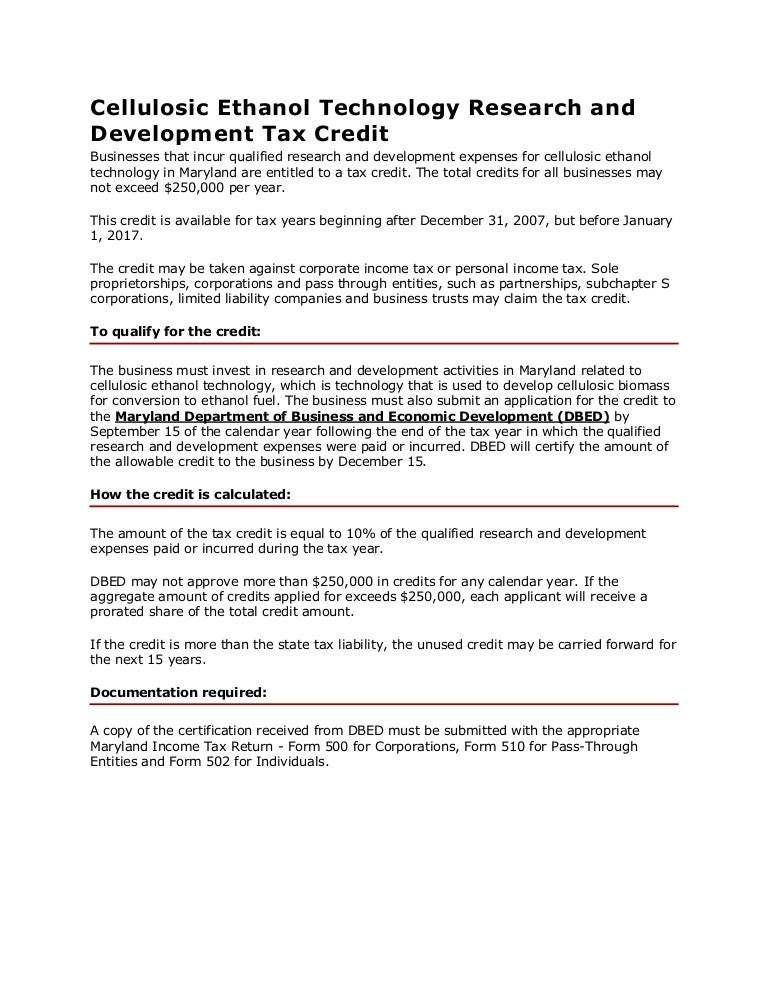 Cellulosic Ethanol Technology Research and Development Tax Credit