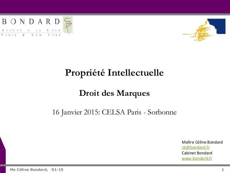 68c39a954bba Celsa Paris-Sorbonne - Droit des marques - Janvier 2015