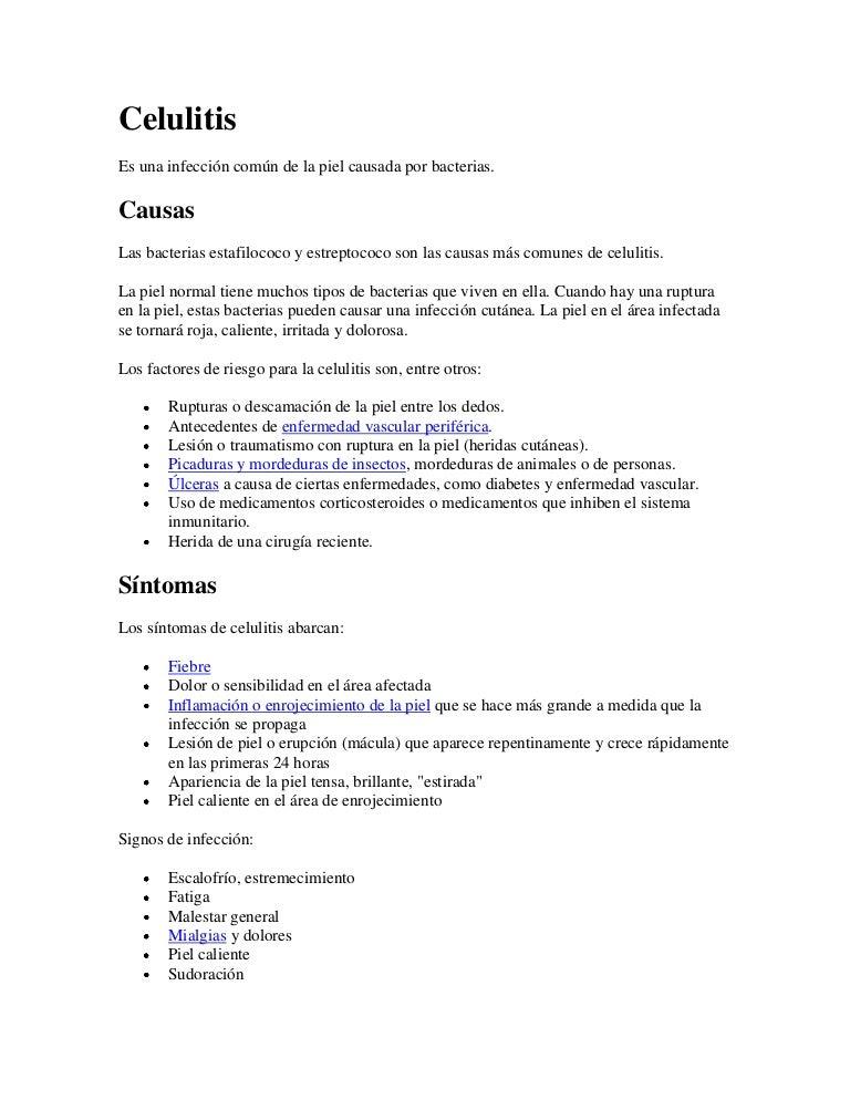 dieta para pacientes con celulitis infecciosa