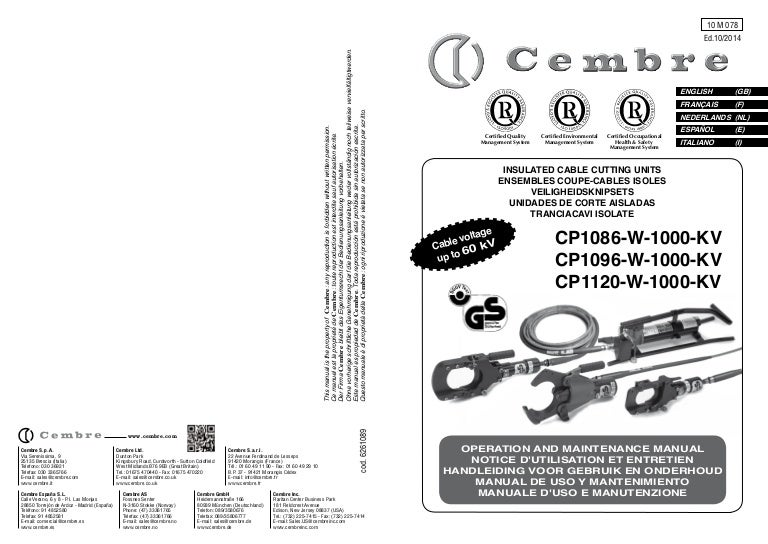 Cembre CP 1086-W-1000KV Insulated Cable Cutting Tool