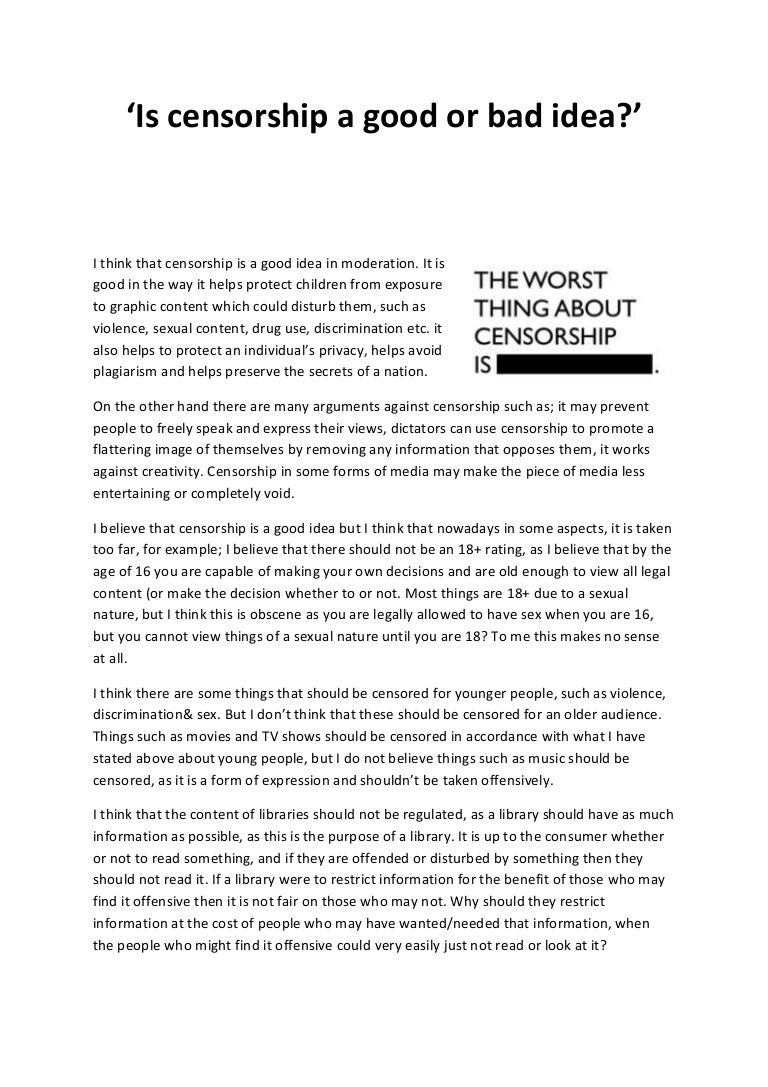 Censorship argument essays