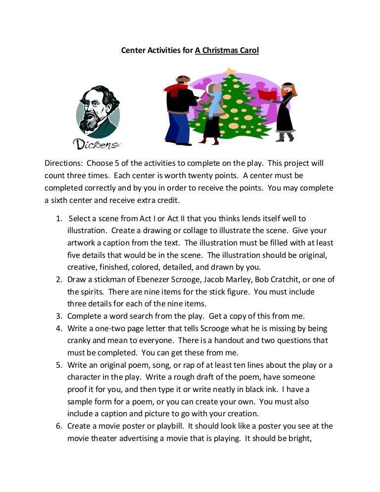 center activities for a christmas carol