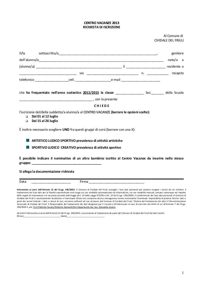 Centro vacanze 2013 comune di cividale moduli di for Contratto di locazione 4 4 modello