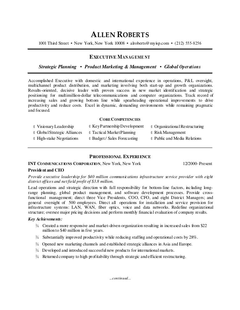 ceo resume sample - Ceo Resumes