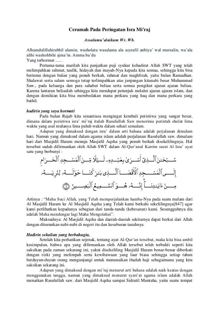 Contoh Ceramah Pada Peringatan Isra Mi