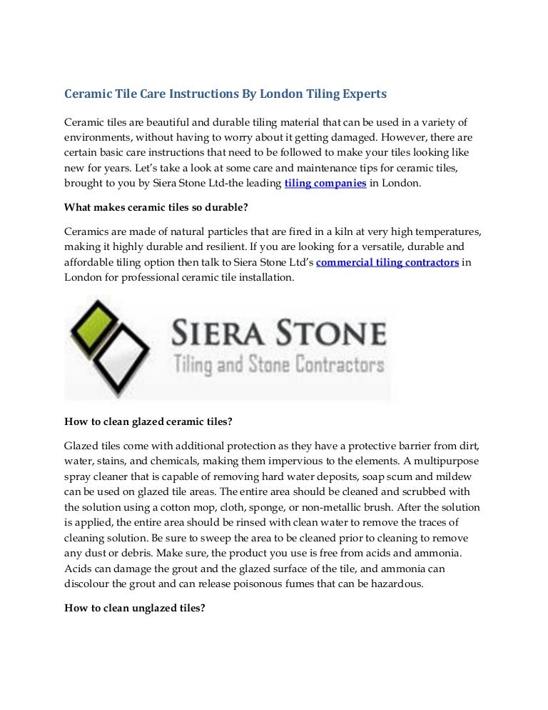 Ceramic Tile Care Instructions By London Tiling Experts