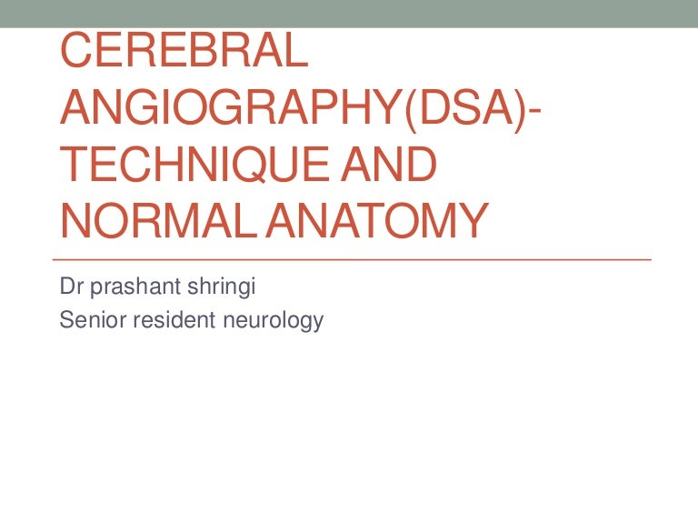 Cerebral angiography technique